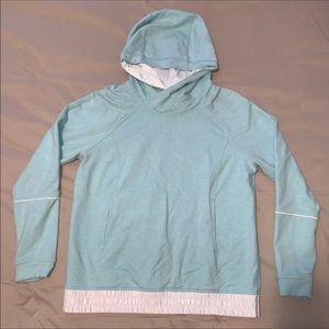 Lululemon Baby Blue & White Satin Hood Pullover